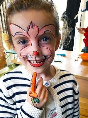 bunny and carrot finger facepainting